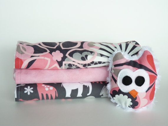 Adorable Pink Burp Cloth Set with Minky Owl Toy on Etsy, $30.00 CAD