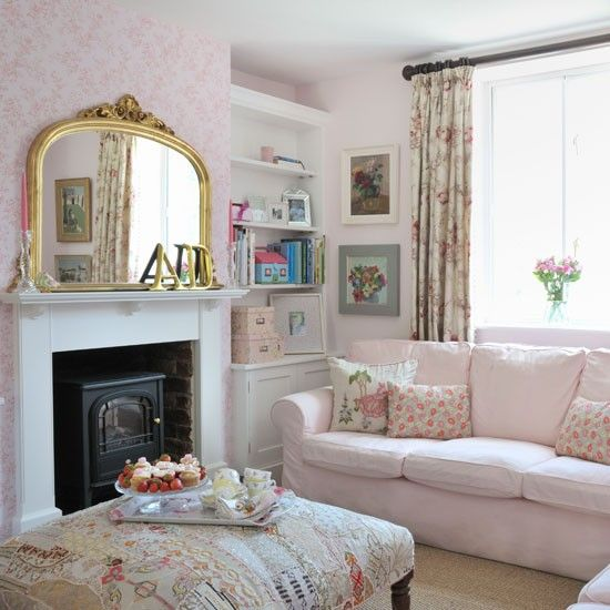 Pretty pink country living room