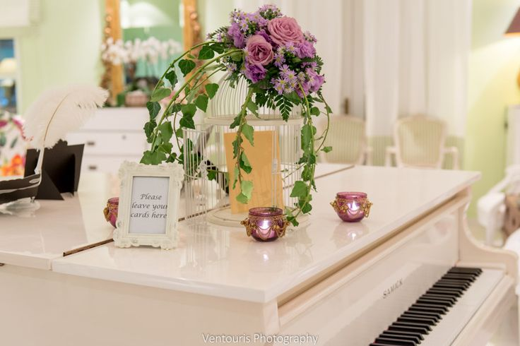 Decoration of a bird cage used for guests cards and wishes