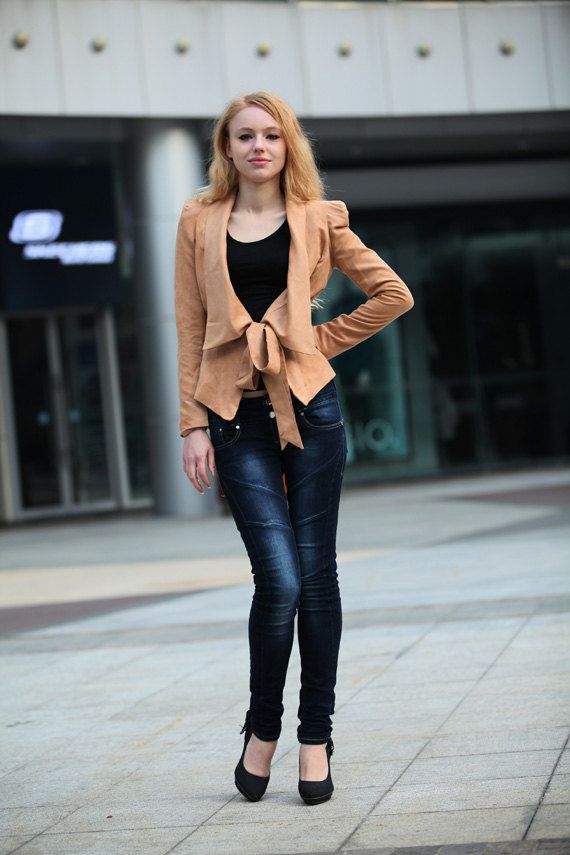 Light Camel Jacket Shrug Fitted Faux Suede by Sophiaclothing, $89.99