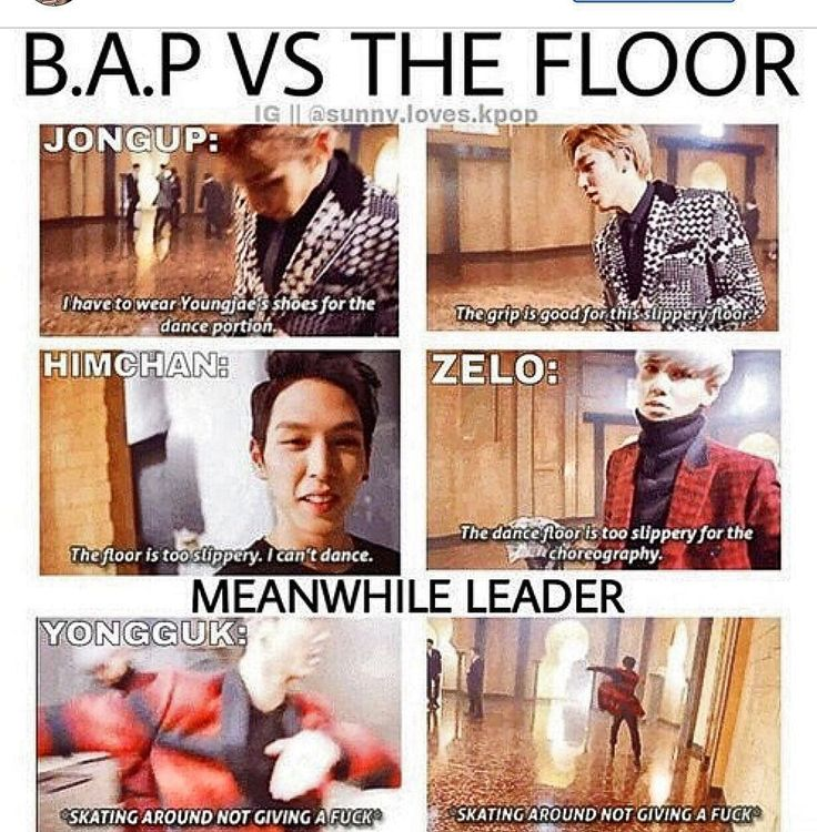 Ugh, sorry about the swear words. Still love Yongguk just sliding around. That is me on a slippery floor.
