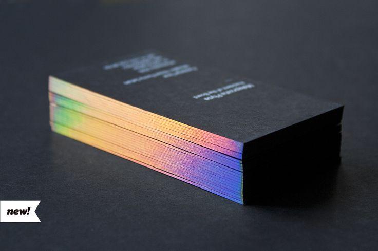 Business cards with hologram foil edges