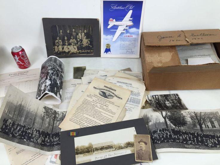 Keepsake Collectible Lot With Old B&W Photographs, War Related Ephemera, Military Ribbon, Bates College Memorabilia