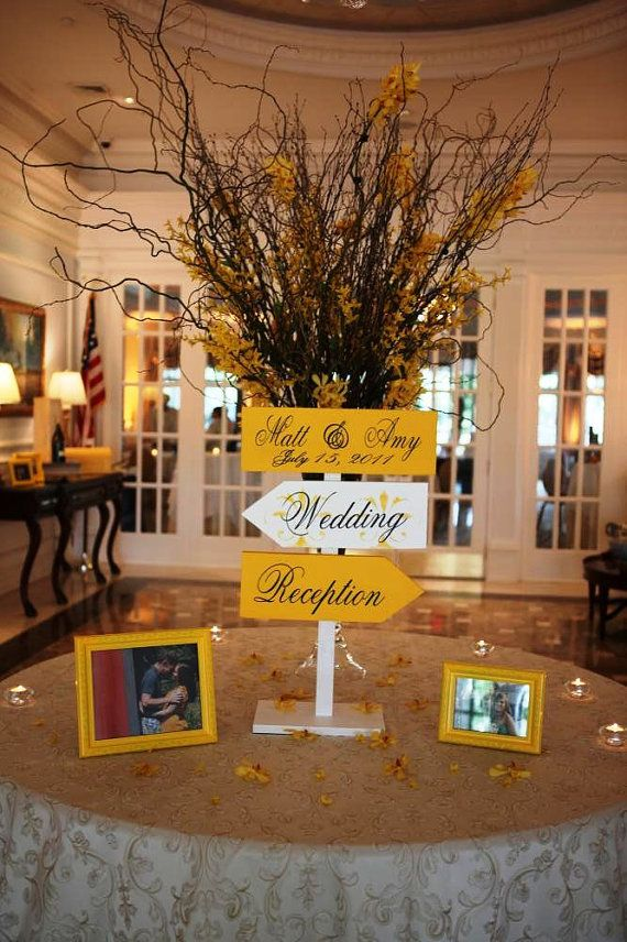 Wedding Directional Arrow Signs with Damask by OurHobbyToYourHome