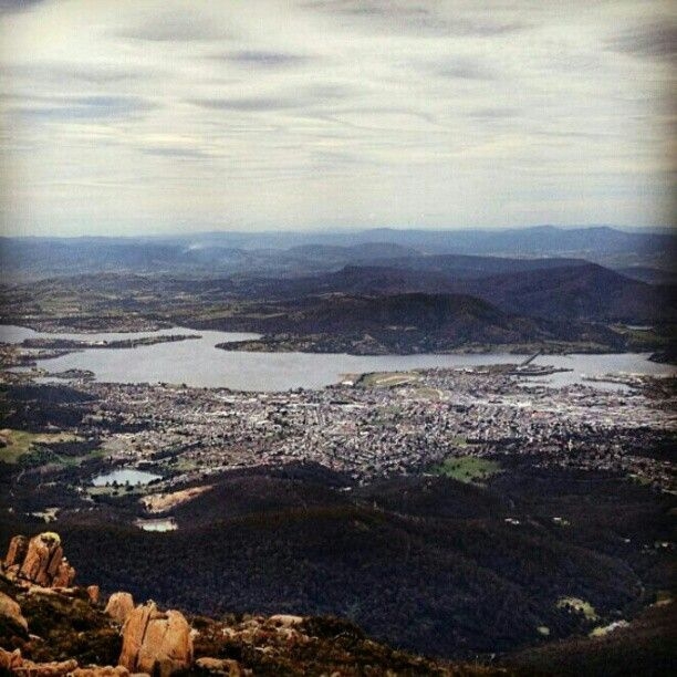 View over #Hobart from #MountWellington. #Tasmania, #Australia. Image by @Rhiannon Watt. #lp #travel.