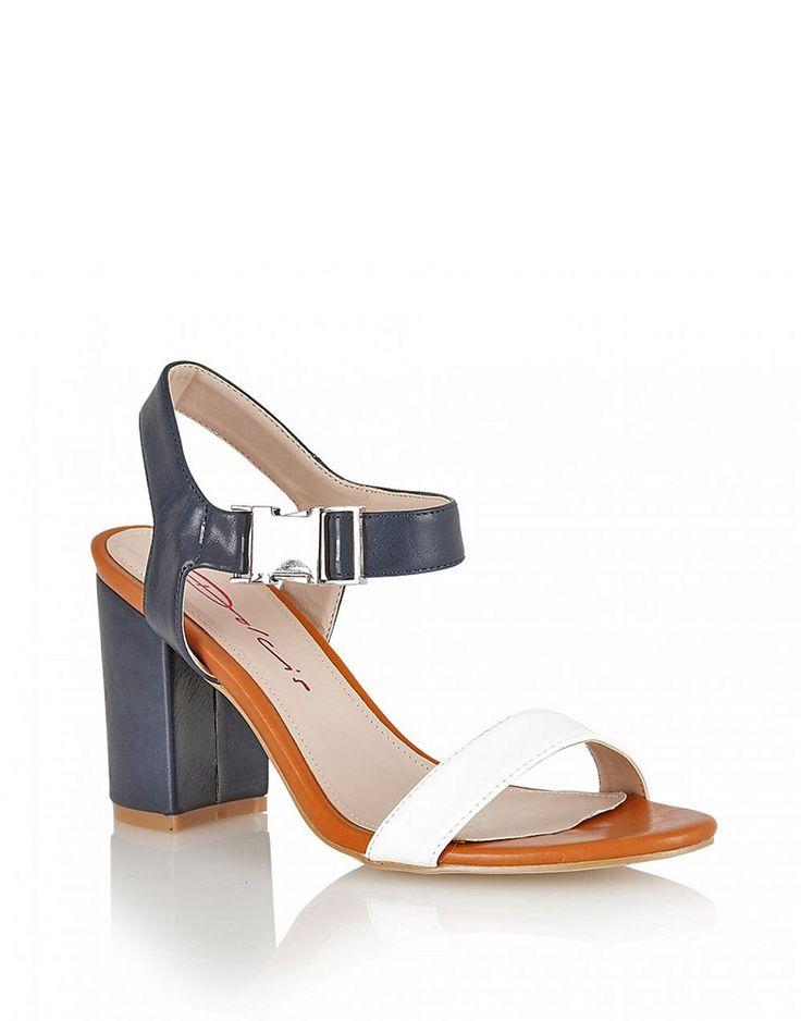 Dolcis Clasp Detail Block Heel Sandals in Navy £ 19.95 #chiarafashion