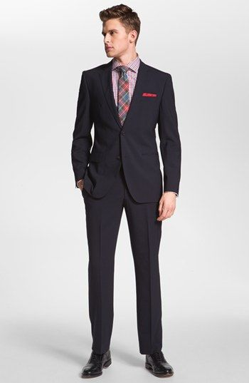 BOSS Black 'Jam/Sharp' Trim Fit Navy Stretch Wool Suit available at #Nordstrom