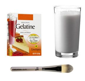 Gelatin Pore Strips  Make your own homemade blackhead removal mask. Mix 1 tablespoon of powdered gelatin and 1 tablespoon milk in a microwave safe bowl. Heat for about ten seconds and apply to nose area with the help of a brush. Leave on face for ten minutes and then peel off.