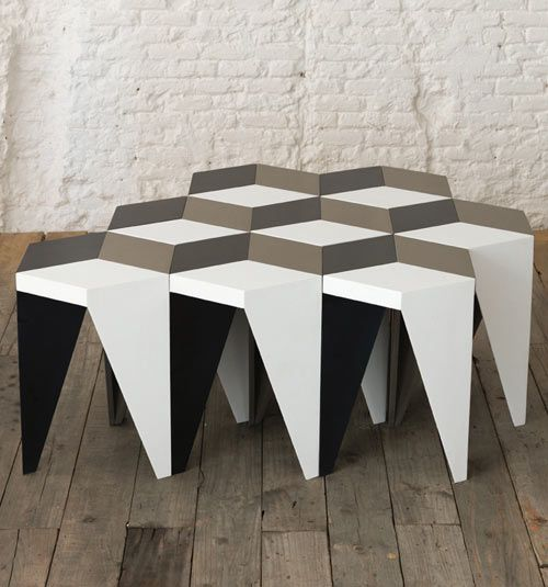 Optical Illusion Rayuela Stool by Alvaro Catalán de Ocón