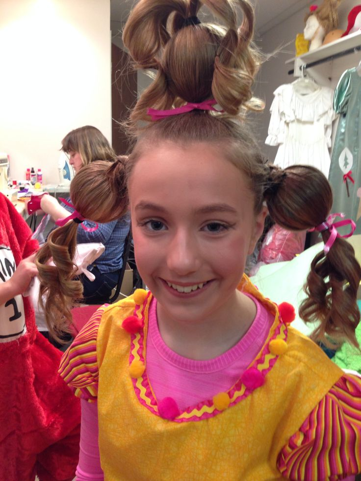 The girls' hair for recital -The Grinch Who Stole Christmas Who hair for our production of Seussical