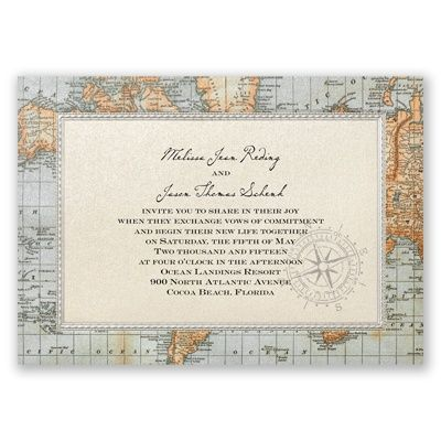 antique world map wedding invitation | nautical wedding invites at Invitations By Dawn