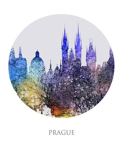 Skyline en Skyline van Praag Skyline van silhouet Decor van