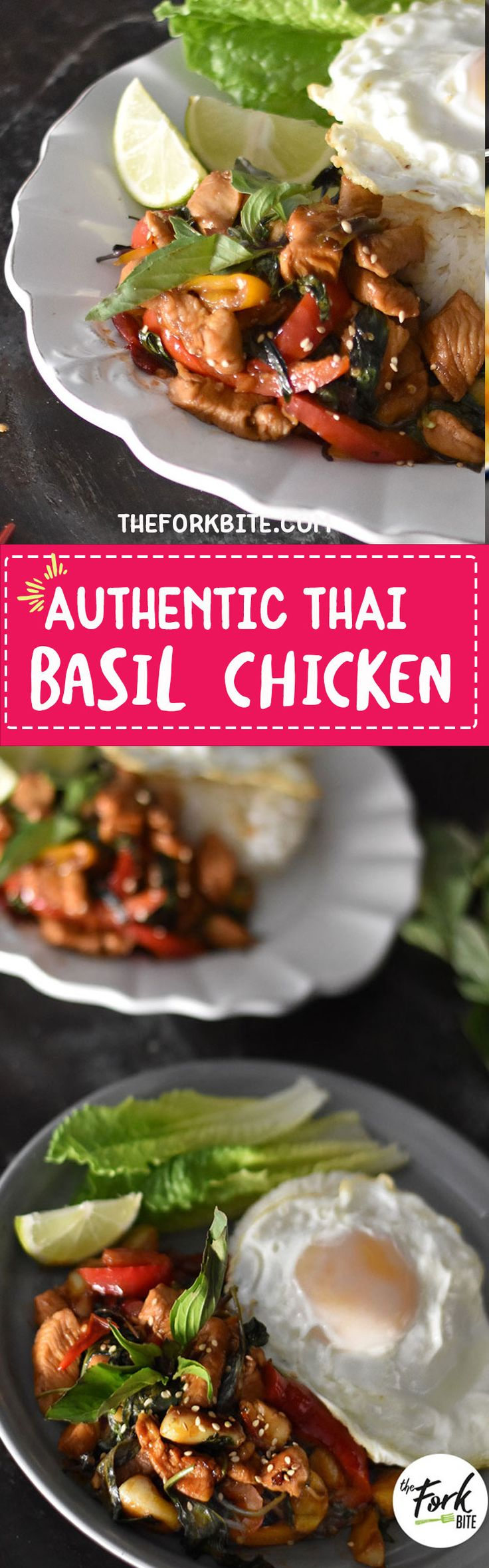 #ThaiBasilChicken This Thai Basil Chicken only takes 15 minutes and the taste is truly just like what you get at Thai restaurants, something you'll get from the streets of Thailand with the fried egg of course.