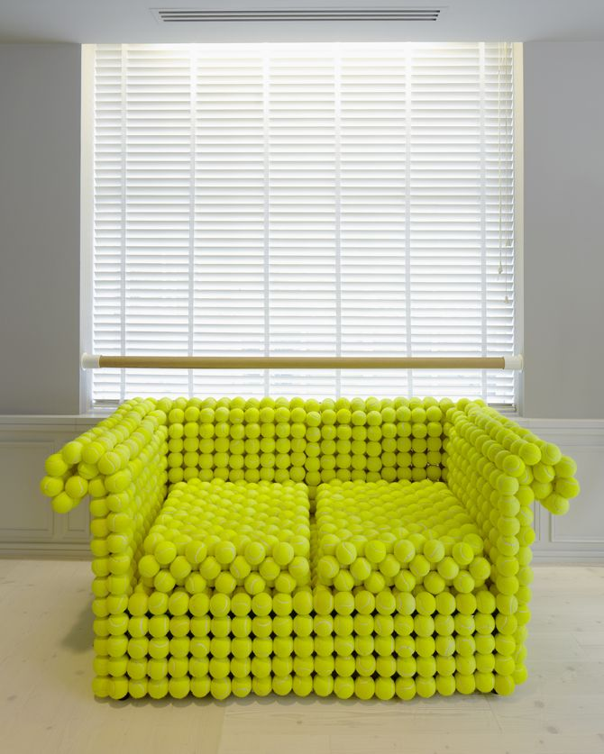 by Demelza Hill | A traditional Chesterfield commissioned by Nike as the seasonal creative addition to their London Brand Space. Made from 1,981 individual tennis balls