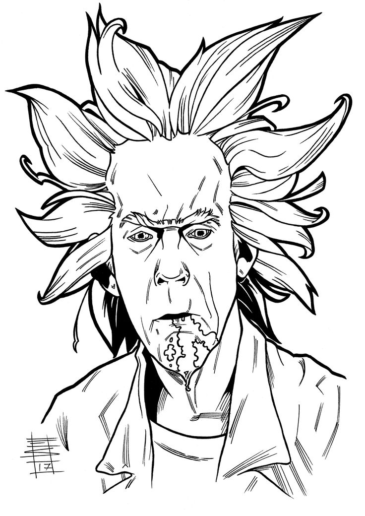"""Wubba Lubba Dub-Dub!""    Rick and Morty - Rick Sanchez. Inks, 2017.  Not using Christopher Lloyd as Doc Brown in Back to the Future would have been a heresy.  #adultswim #christopherlloyd #docbrown #inks #fanarttraditionalart #rickandmorty #ricksanchez #adultswimfanart"