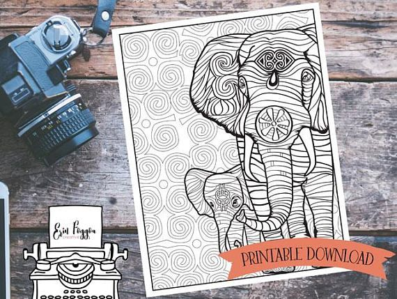 Coloring Page - Elephant - African Art with Symbolism // INSTANT DOWNLOAD // Manifestation and Meditation Colouring Page
