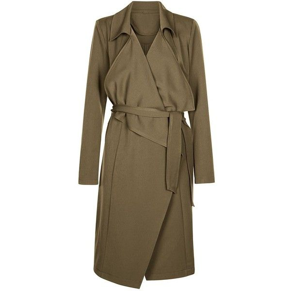 Anita and Green Khaki Waterfall Trench Coat ($50) ❤ liked on Polyvore featuring outerwear, coats, khaki, waterfall coat, trench coat, khaki coat, long sleeve coat and brown coat