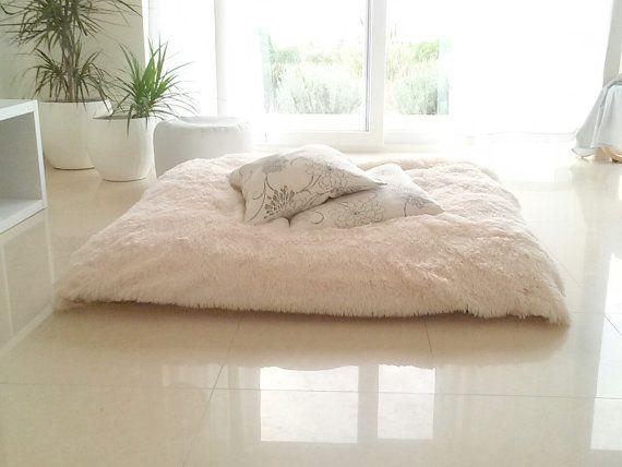 Faux fur floor pillow  bean bag pillow  floor by martamartim