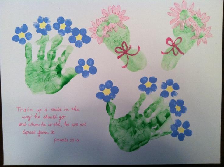 Handprint footprint flowers kids rooms pinterest for Weekend art projects