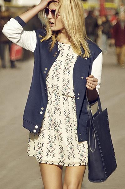 printed dress - university jacket