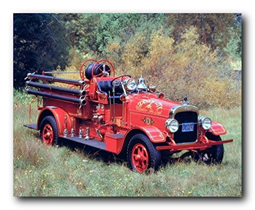 Decorate your place with this beautiful vintage fire truck art print poster. It would bring elegant change and new color to your decor pattern. This poster is made of using high quality papers with a perfect color accuracy which ensures that your posters last a lifetime without fading.
