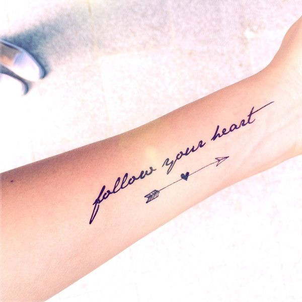 """2pcs """"Follow your heart"""" quote and arrow tattoo InknArt Temporary... (€3,66) ❤ liked on Polyvore featuring accessories, body art, tattoos, beauty and tatto"""