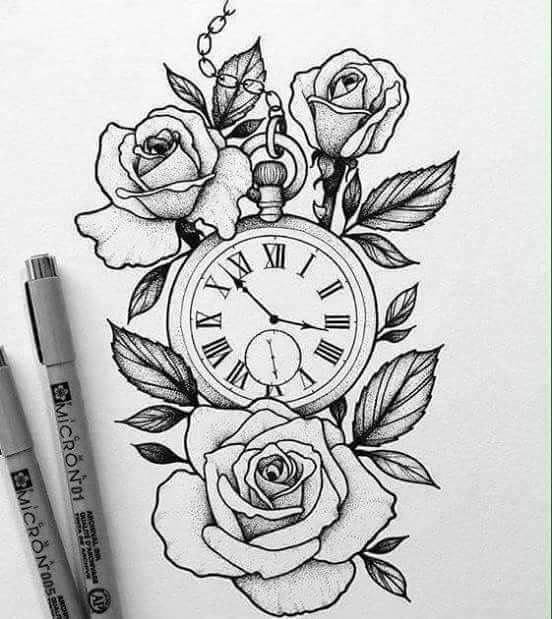 Roses and stop watch sketch