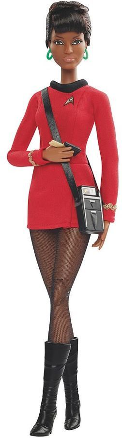 Barbie Star Trek 50th Anniversary Lieutenant Uhura Doll Celebrate the 50th anniversary of your favorite iconic show with this Barbie Star Trek Lieutenant Uhura doll. Sculpted in the likeness of the original actor, Nichelle Nichols Fully-articulated body Communicator & tricorder with shoulder strap accessories Authentic replication of the classic costume PRODUCT DETAILS Includes: doll, outfit & accessories
