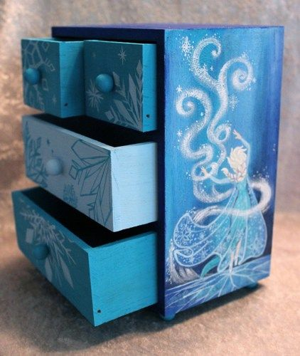 """hand pained """"frozen"""" furniture   Frozen Inspired Hand Painted Jewelry Box with Hand Sculpted Mirror"""