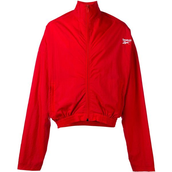 Vetements - 'X Reebok' track jacket - men - Nylon/Polyester - XS ($820) ❤ liked on Polyvore featuring men's fashion, men's clothing, men's activewear, men's activewear jackets, red, mens track tops, mens track jacket and mens activewear