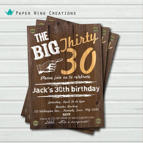 25 best ideas about Surprise 30th Birthday – Surprise 30th Birthday Invitations for Men