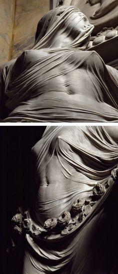 """Modesty"" by Antonio Corradini (Italian, 1688–1752), marble statue of veiled female with exquisite sculpture of translucent fabric, c. 1751. #arthistory"