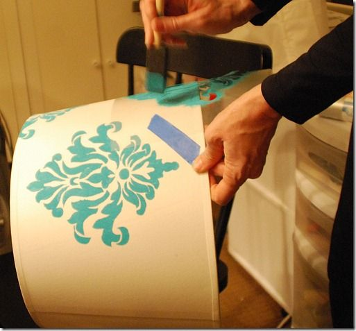 Stenciling a plain lamp desired color! Great idea to make things match perfectly