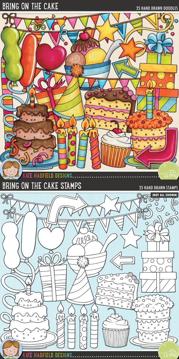Birthday digital scrapbooking elements | Cute birthday party & celebration clip art | Hand-drawn doodles for digital scrapbooking, crafting and teaching resources from Kate Hadfield Designs! Click through to see projects created using these illustrations!