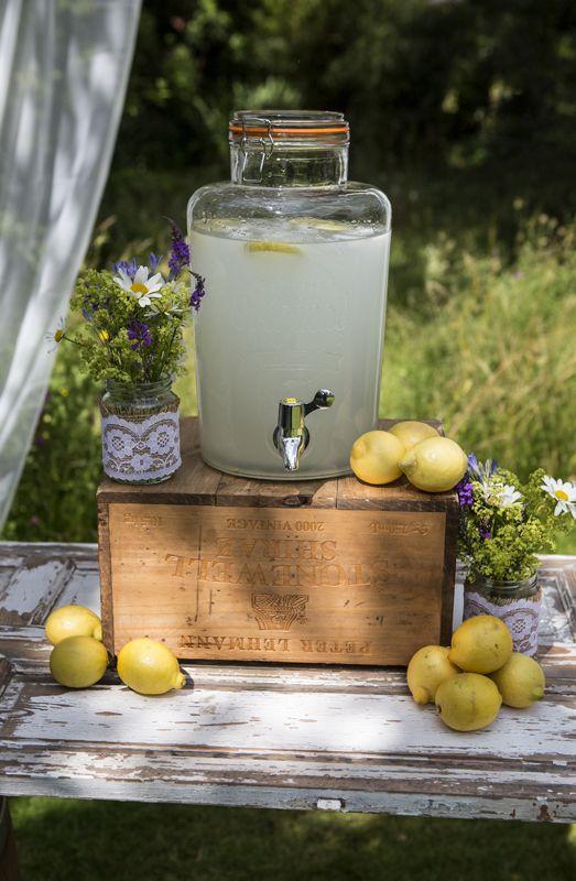 Kilner drink dispenser, rustic bar, wine crates, lemonade, rustic wedding