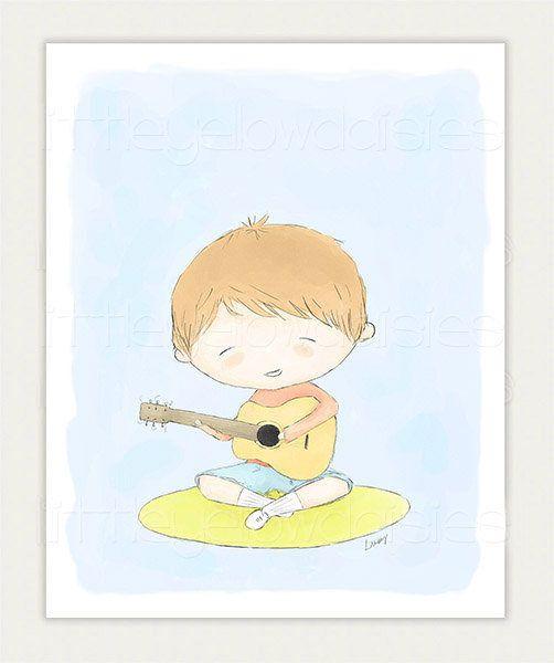 Music Nursery Art-The Guitar Boy-Kids Room by LittleYellowDaisiess