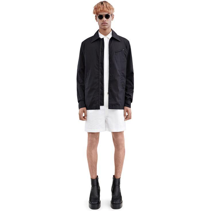 Acne Studios Merick black is a water repellant cotton poplin jacket reminiscent of a sharply cut shirt.