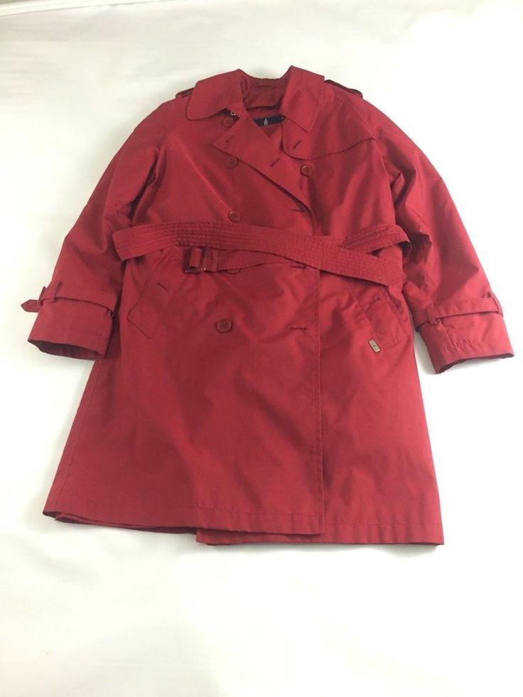 London Fog Cherry Red Small Trench Rain Coat Jacket Belt Lined #LondonFog #Trench