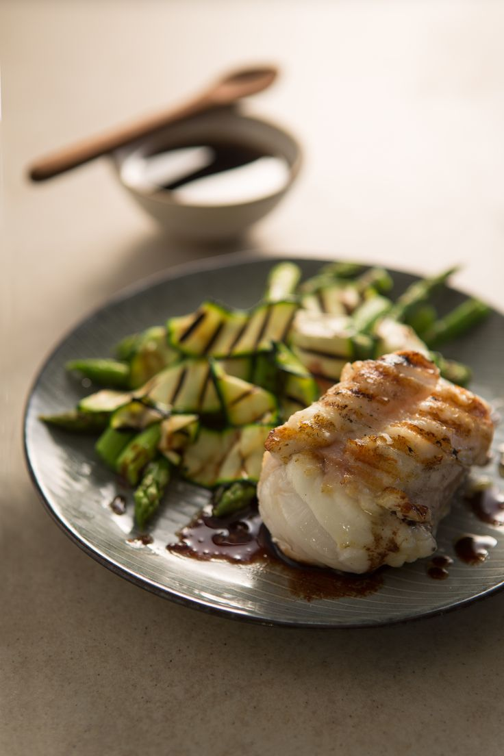 Grilled monkfish with red wine sauce by Ollie Moore