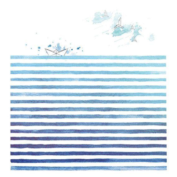 Aquarell Meer Abstrakte Meer Landschaft Modern Minimalistisch