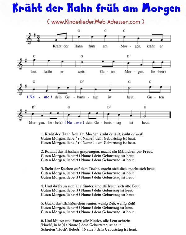 lied kräht der hahn früh am morgen | Sie sind hier: Kinderlieder A - Z > K - Kinderlieder mit Text > Kräht ...