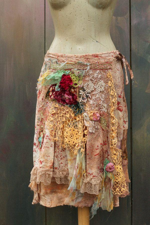Bohemian girl skirt   romantic  gypsy hippy shabby by FleursBoheme