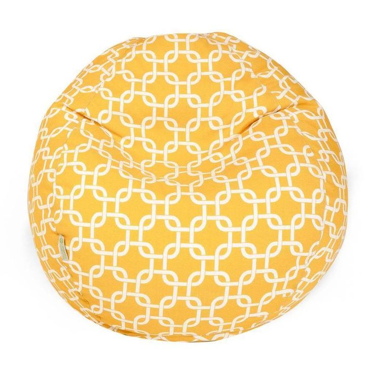 Lounge Bean Bag Chair Small Yellow and White Links, Removable Cover  #Beanbag