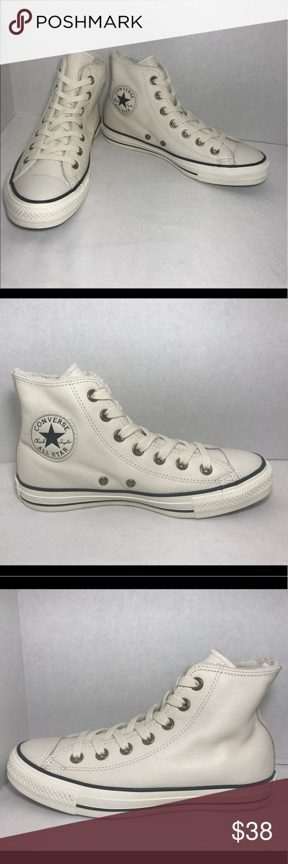 Converse Chuck Taylor Leather All Star Sneakers These woman Converse sneakers have a Leather high top design with a super soft interior.  These shoes are new from store display however they have been used for sample and display purposes and may have slight scuffs on shoes hardly seen. They are original brand shoes and same shoes as pictures shown. Converse Shoes Sneakers