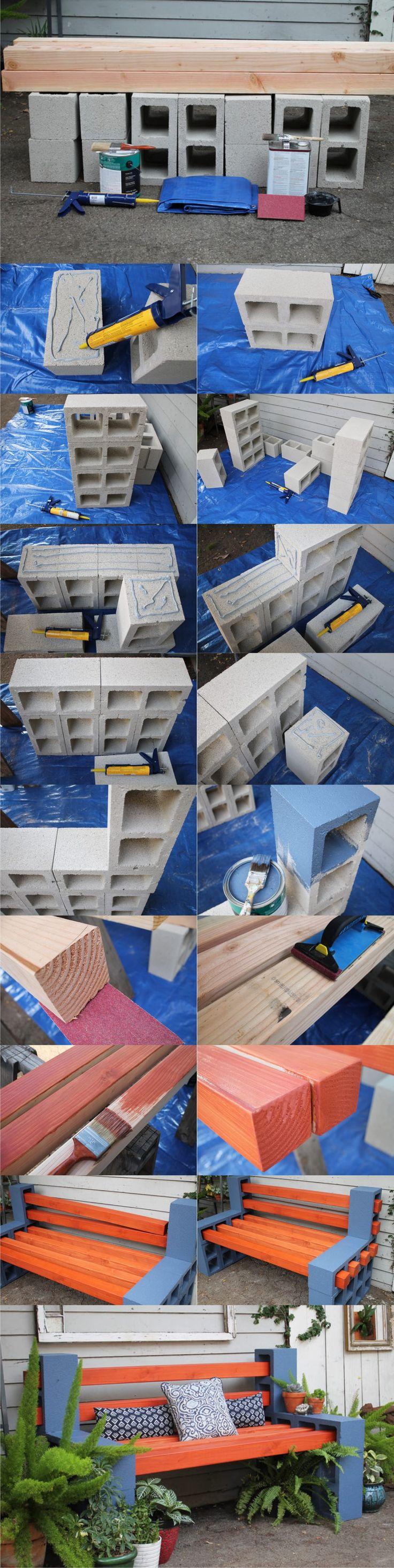 Diy: Outdoor Bench From Concrete Blocks & Wooden Slats Patio & Outdoor Furniture