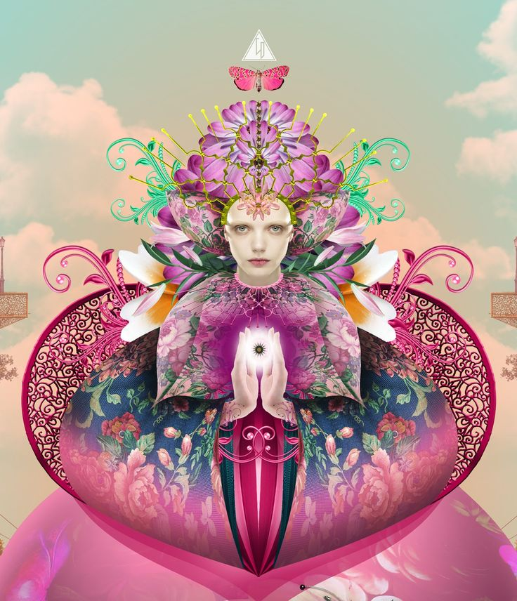 """The pink lady of flowers says: """"do not believe in butterflies, the city is a hologram that cheats the cats"""" - Author: Wyrd Daniel C. - Digital art - My art is an intersection of popsurrealism + esotericism and alchemy + fashion + design"""