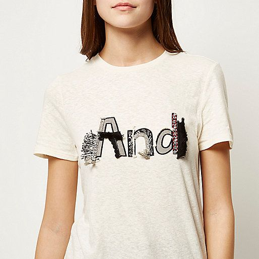 Cream embroidered tassel fitted t-shirt