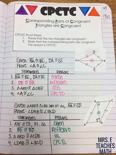 Congruent Triangles CPCTC Interactive Notebook Page