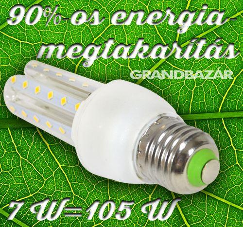 590 Ft. - 7W led fénycső 7W=~105w E27 - HIDEG ÉS MELEGFEHÉR - Grandbazár