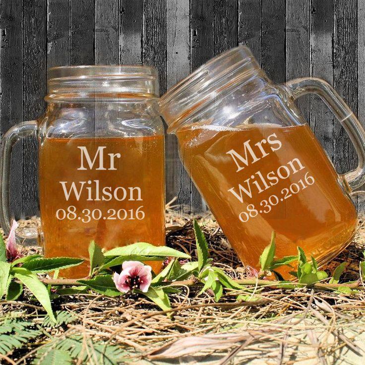 Г-н & Г-Жа Пару Мейсон Банки для Питья Персонализированные Свадьбы Mason Jar Чашки Пользовательское Имя и Даты Юбилейная/Партия подарки Сувениры